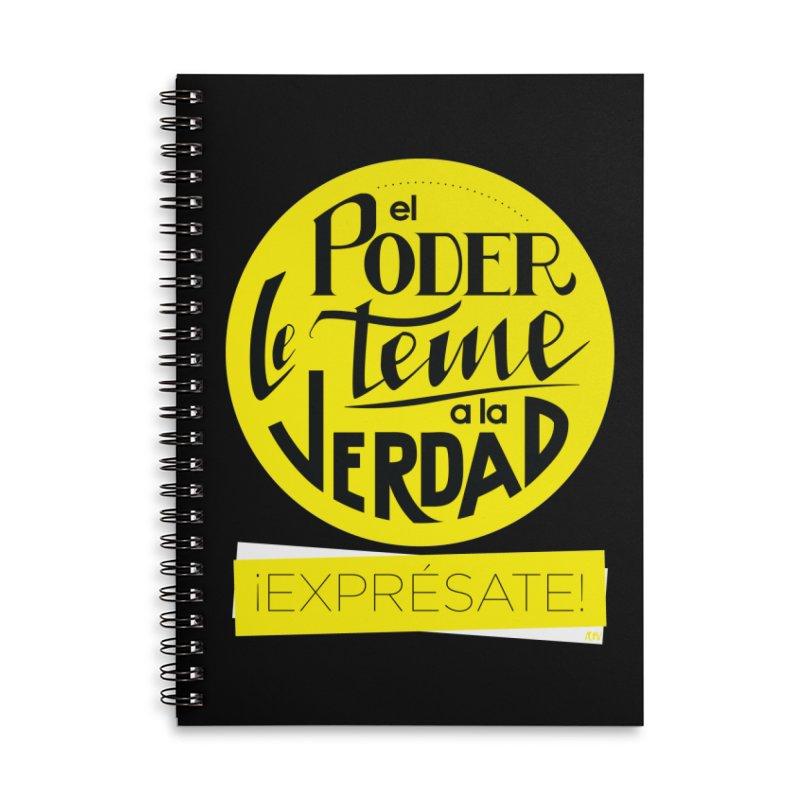 El poder le teme a la verdad - Fondo oscuro - Venezuela Accessories Lined Spiral Notebook by Andrea Garrido V - Shop