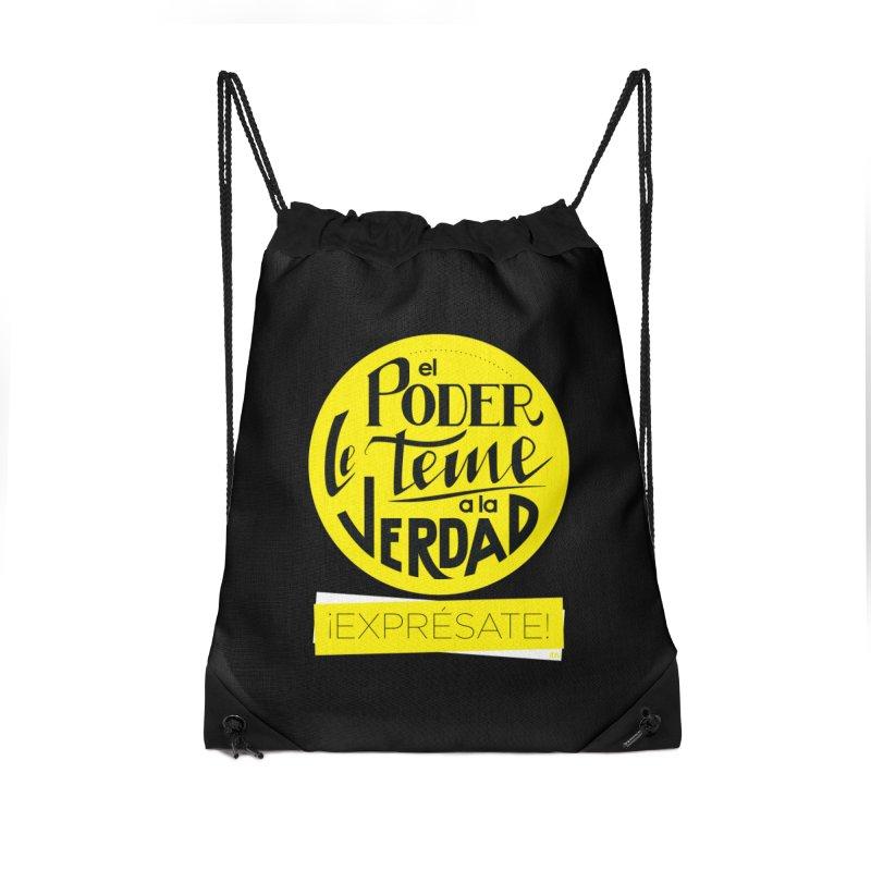 El poder le teme a la verdad - Fondo oscuro - Venezuela Accessories Drawstring Bag Bag by Andrea Garrido V - Shop