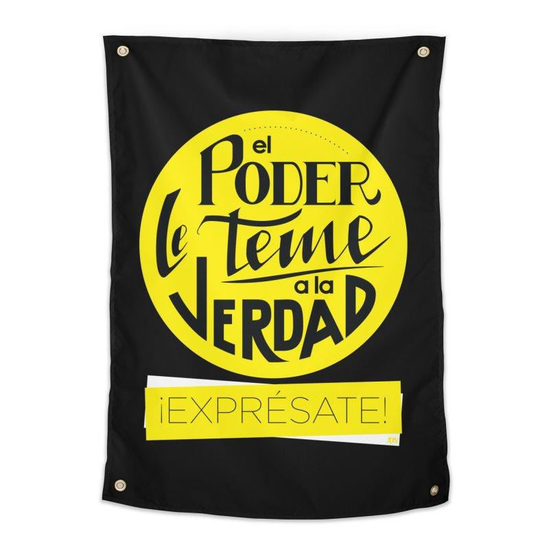 El poder le teme a la verdad - Fondo oscuro - Venezuela Home Tapestry by Andrea Garrido V - Shop
