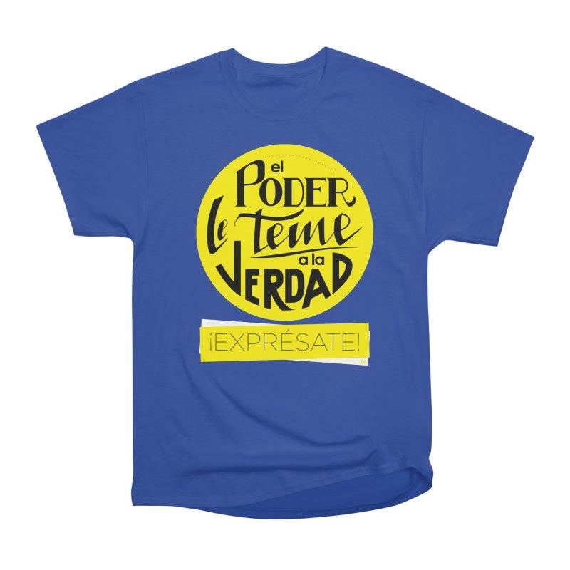 El poder le teme a la verdad - Fondo oscuro - Venezuela Men's Heavyweight T-Shirt by Andrea Garrido V - Shop