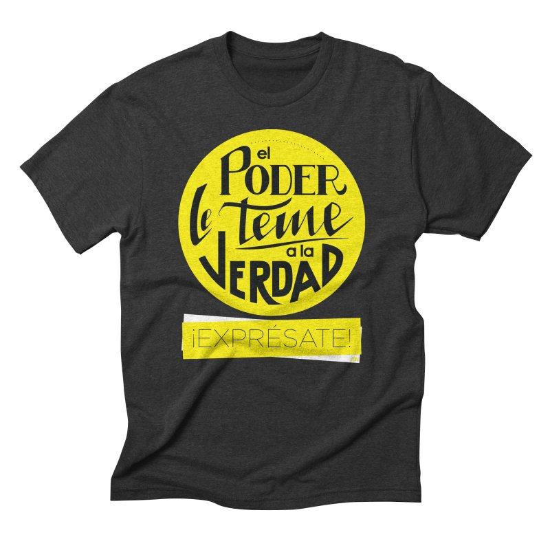 El poder le teme a la verdad - Fondo oscuro - Venezuela Men's Triblend T-Shirt by Andrea Garrido V - Shop