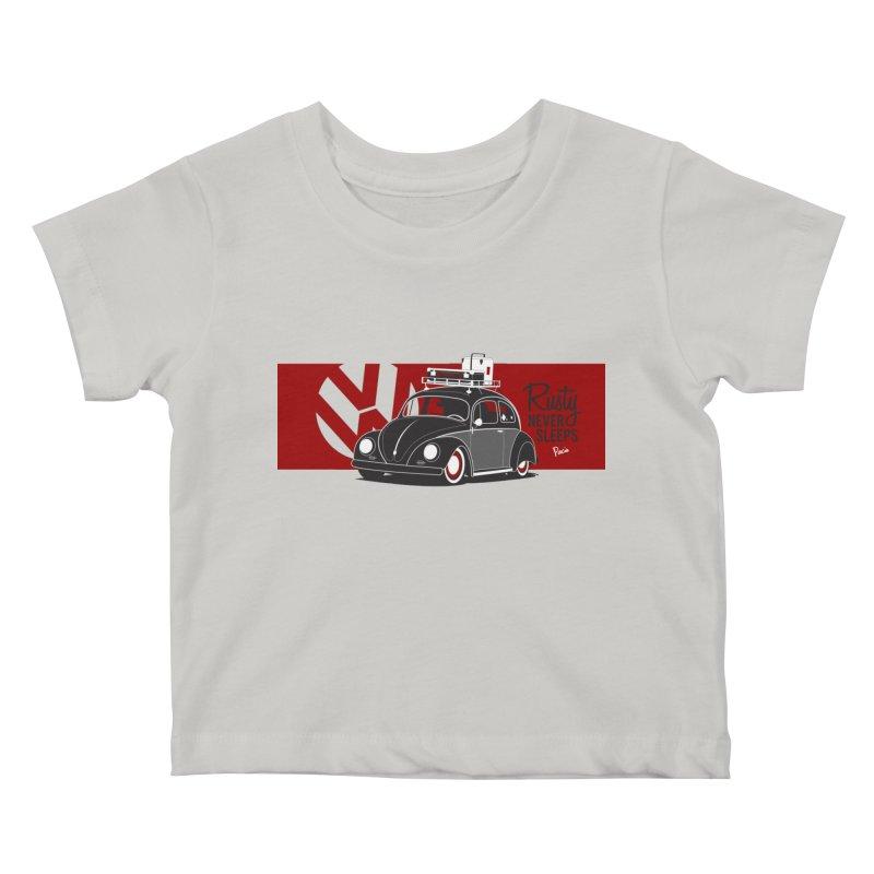 Rusty Never Sleeps Kids Baby T-Shirt by Andrea Pacini