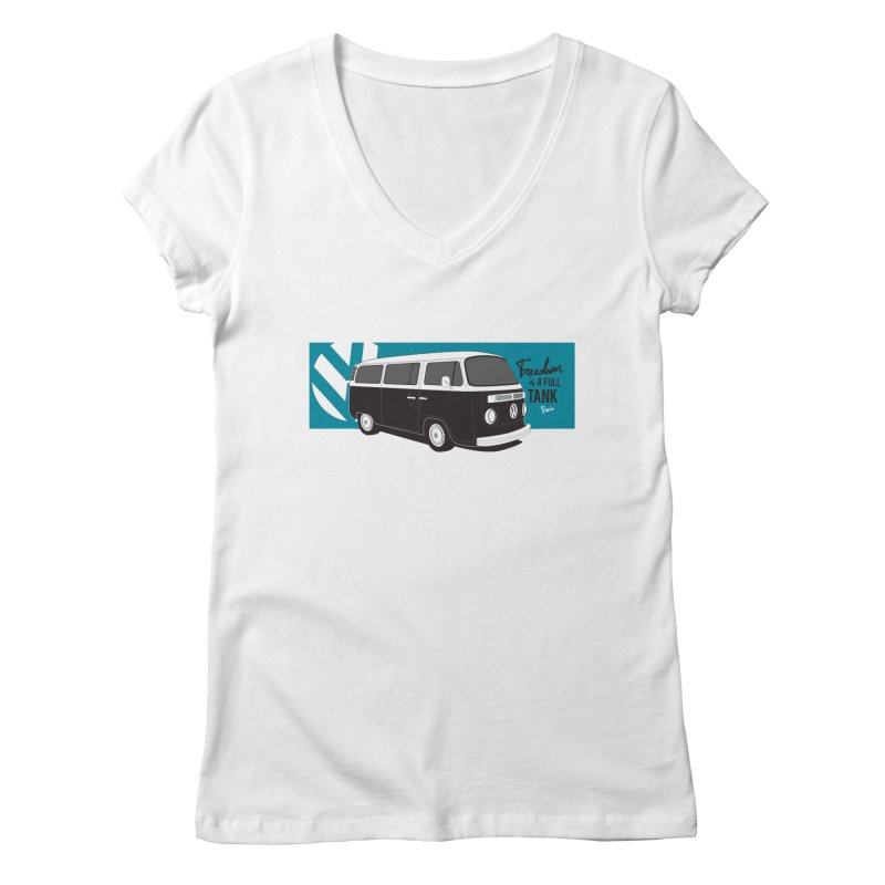 Freedom is a Full Tank Women's V-Neck by Andrea Pacini