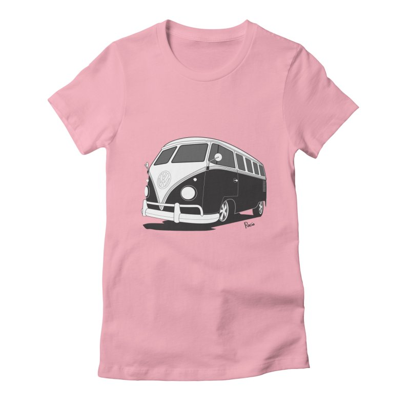 Samba Bus in Women's Fitted T-Shirt Light Pink by Andrea Pacini