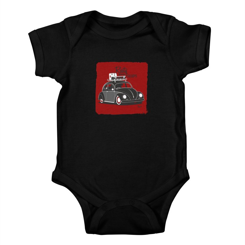 Rusty never sleeps Kids Baby Bodysuit by Andrea Pacini