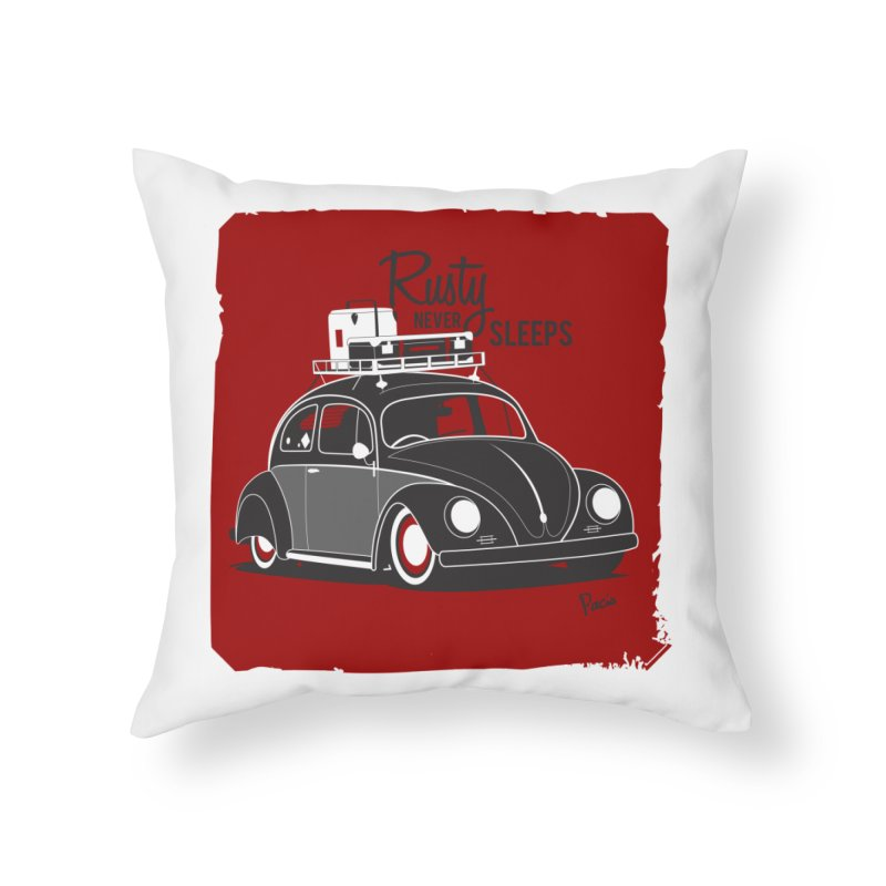 Rusty never sleeps Home Throw Pillow by Andrea Pacini