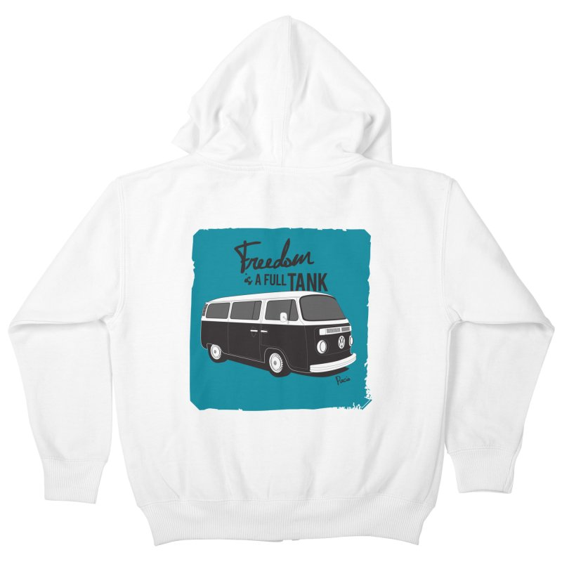 Freedom is a full tank Kids Zip-Up Hoody by Andrea Pacini