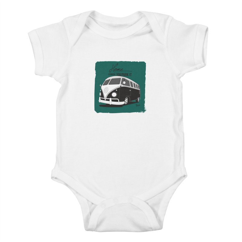 Home is where you park it Kids Baby Bodysuit by Andrea Pacini