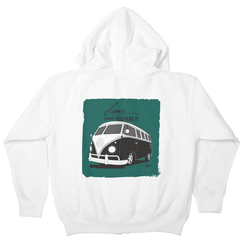 Home is where you park it Kids Zip-Up Hoody by Andrea Pacini