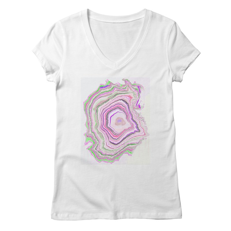 Fluorescent Pixellated Rings Women's V-Neck by andrearaths's Artist Shop