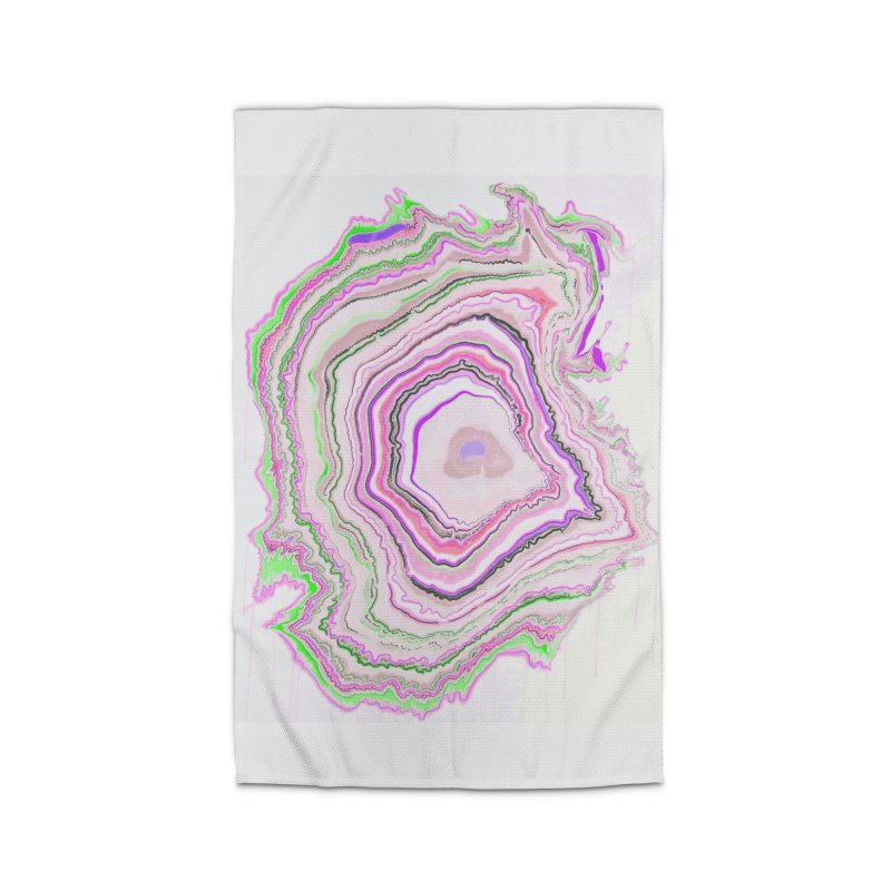 Fluorescent Pixellated Rings Home Rug by andrearaths's Artist Shop