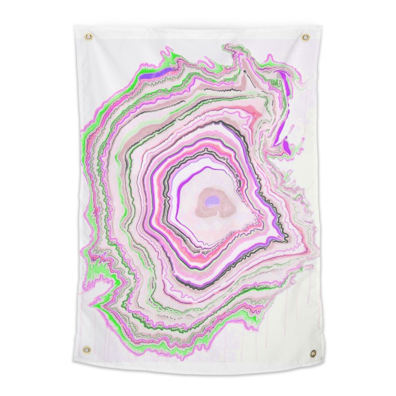 Fluorescent Pixellated Rings Home Tapestry by andrearaths's Artist Shop