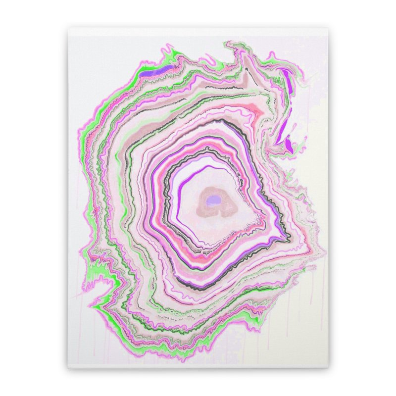Fluorescent Pixellated Rings Home Stretched Canvas by andrearaths's Artist Shop
