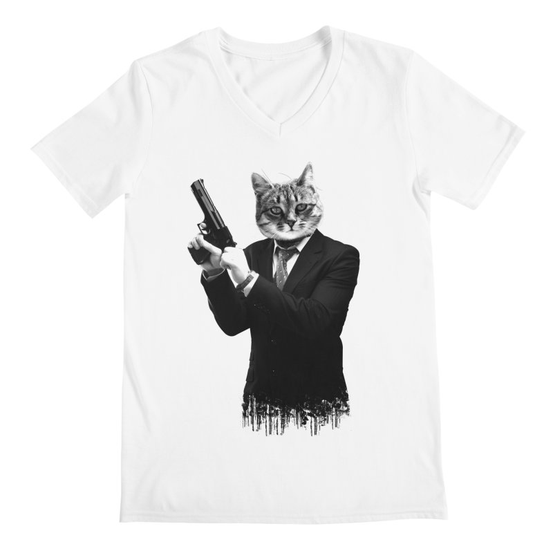Cat! Pussy Cat Men's V-Neck by Andreas Leonidou's Artist Shop