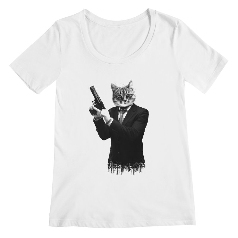 Cat! Pussy Cat Women's Scoopneck by Andreas Leonidou's Artist Shop
