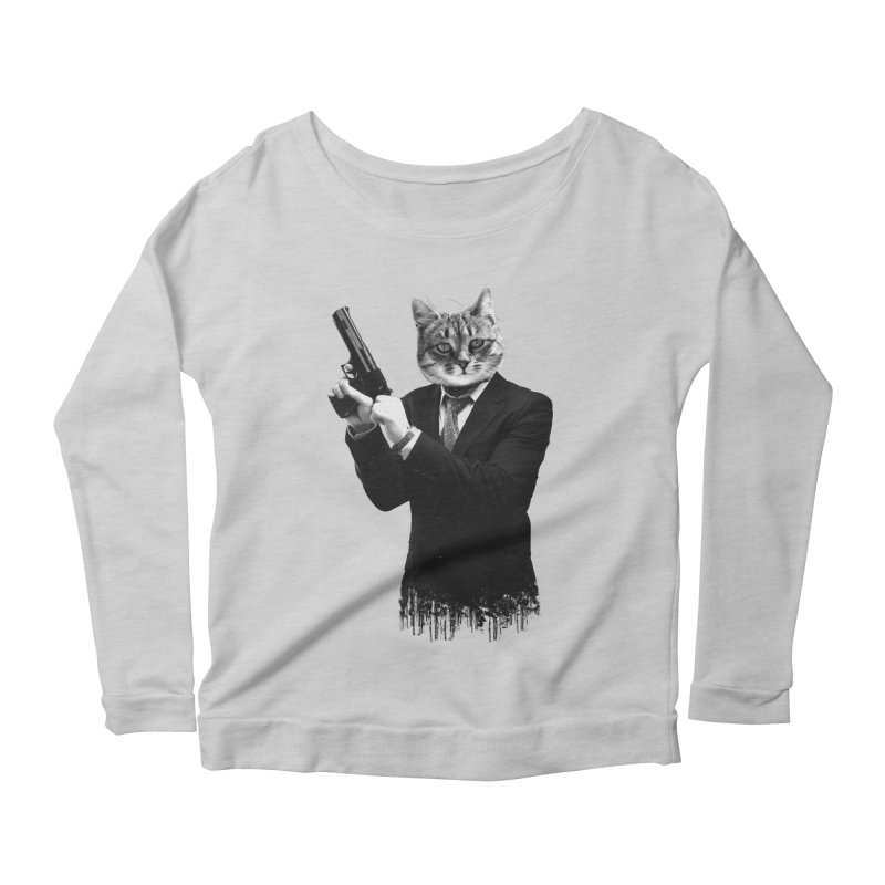 Cat! Pussy Cat Women's Longsleeve Scoopneck  by Andreas Leonidou's Artist Shop