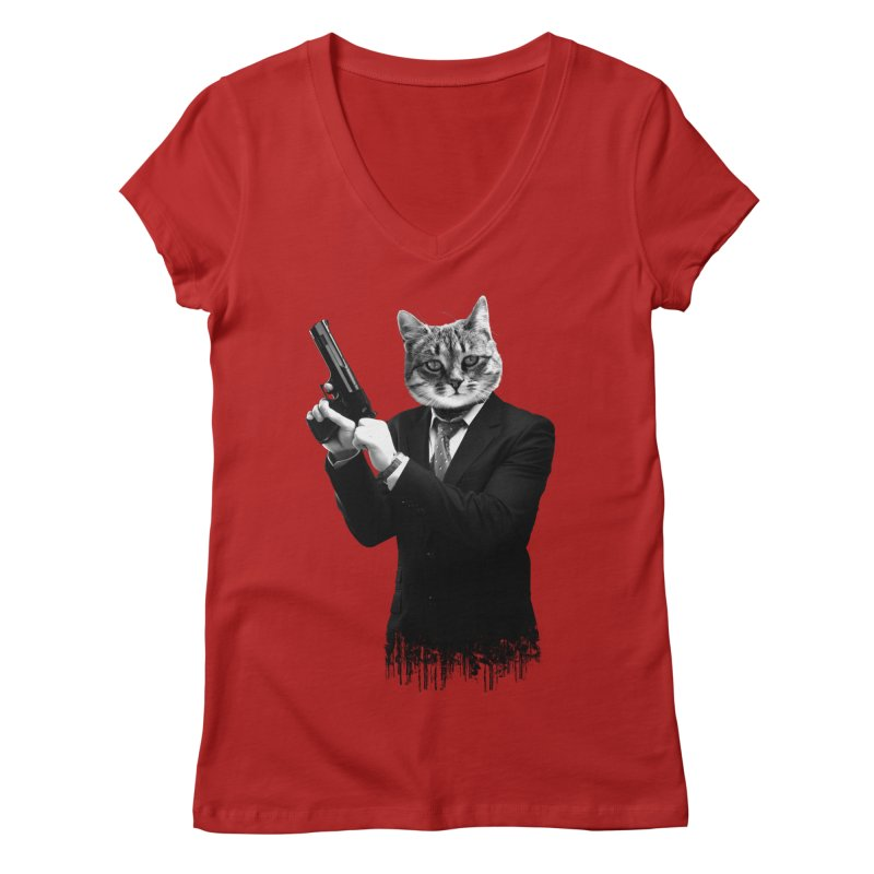 Cat! Pussy Cat Women's V-Neck by Andreas Leonidou's Artist Shop