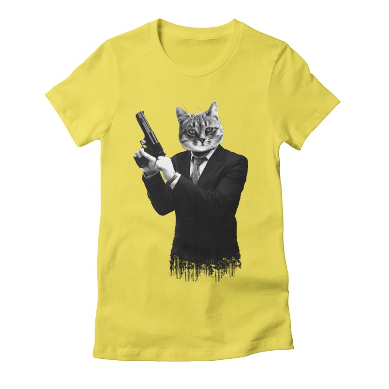 Cat! Pussy Cat Women's Fitted T-Shirt by Andreas Leonidou's Artist Shop