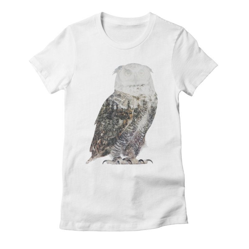Owl Women's Fitted T-Shirt by Andreas Lie