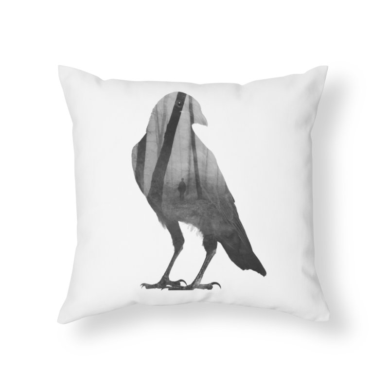 Crow Home Throw Pillow by Andreas Lie