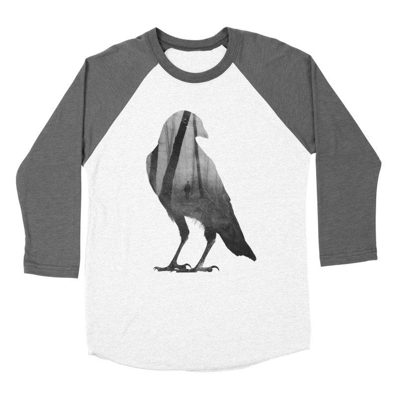 Crow Men's Baseball Triblend Longsleeve T-Shirt by Andreas Lie