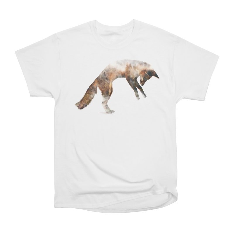 Jumping Fox Men's Heavyweight T-Shirt by Andreas Lie