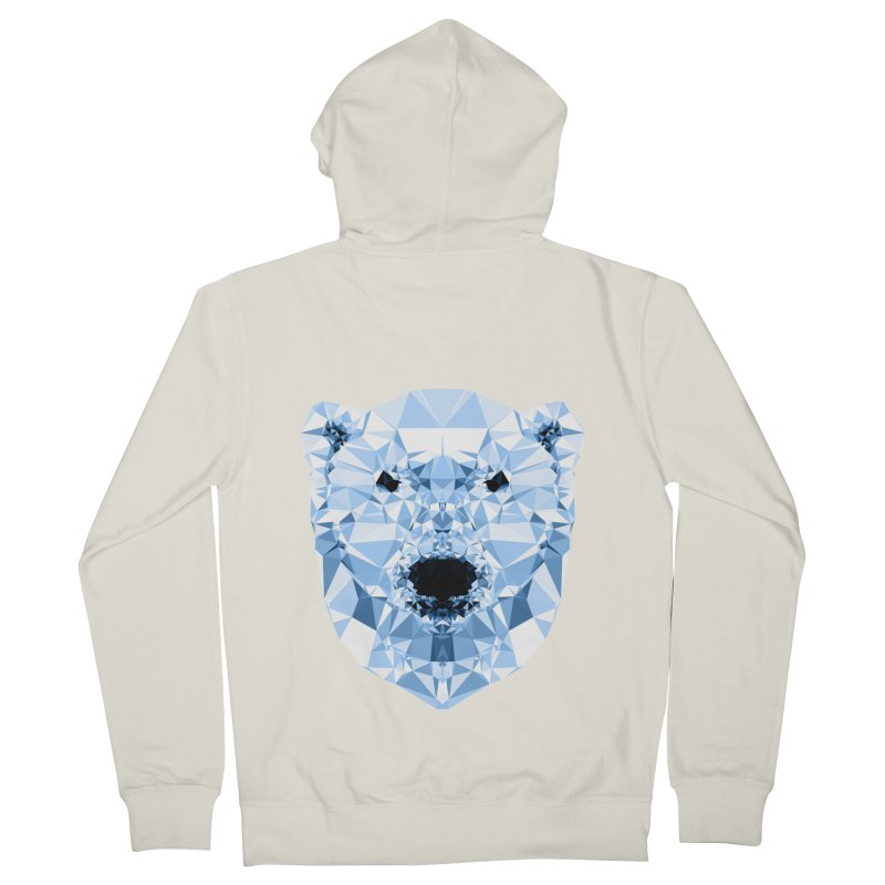 Geometric Polar Bear Women's French Terry Zip-Up Hoody by Andreas Lie