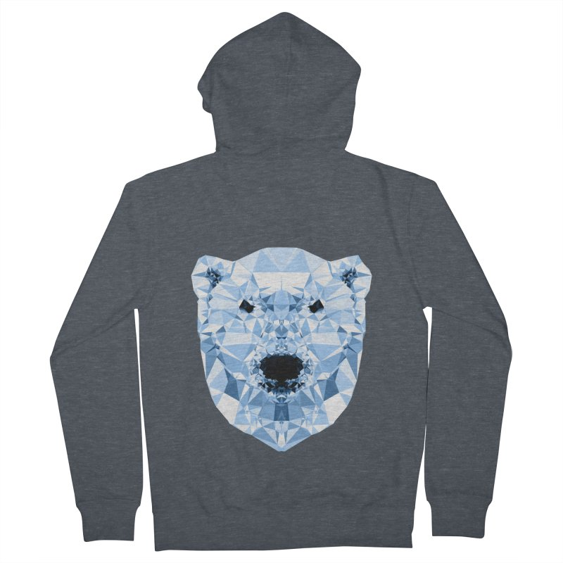 Geometric Polar Bear Men's French Terry Zip-Up Hoody by Andreas Lie