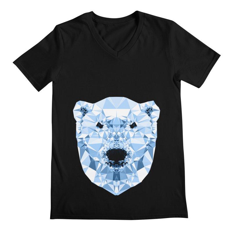 Geometric Polar Bear Men's V-Neck by Andreas Lie