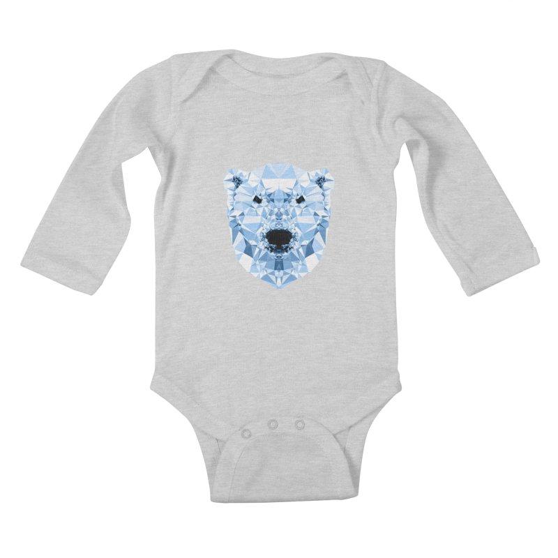 Geometric Polar Bear Kids Baby Longsleeve Bodysuit by Andreas Lie