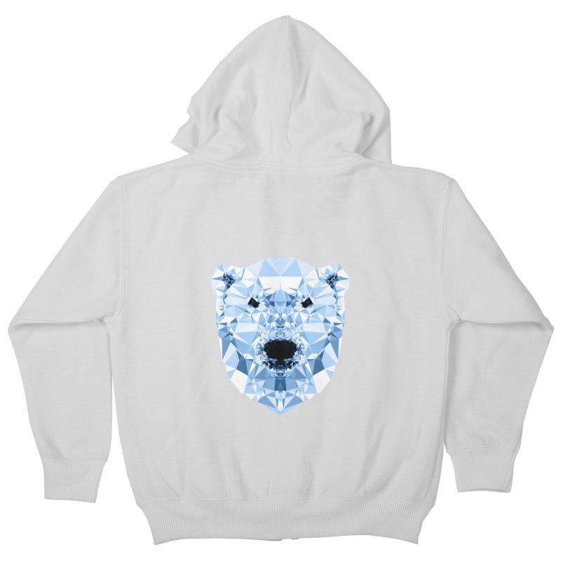 Geometric Polar Bear Kids Zip-Up Hoody by Andreas Lie
