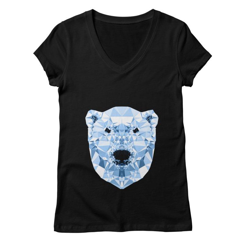 Geometric Polar Bear Women's Regular V-Neck by Andreas Lie
