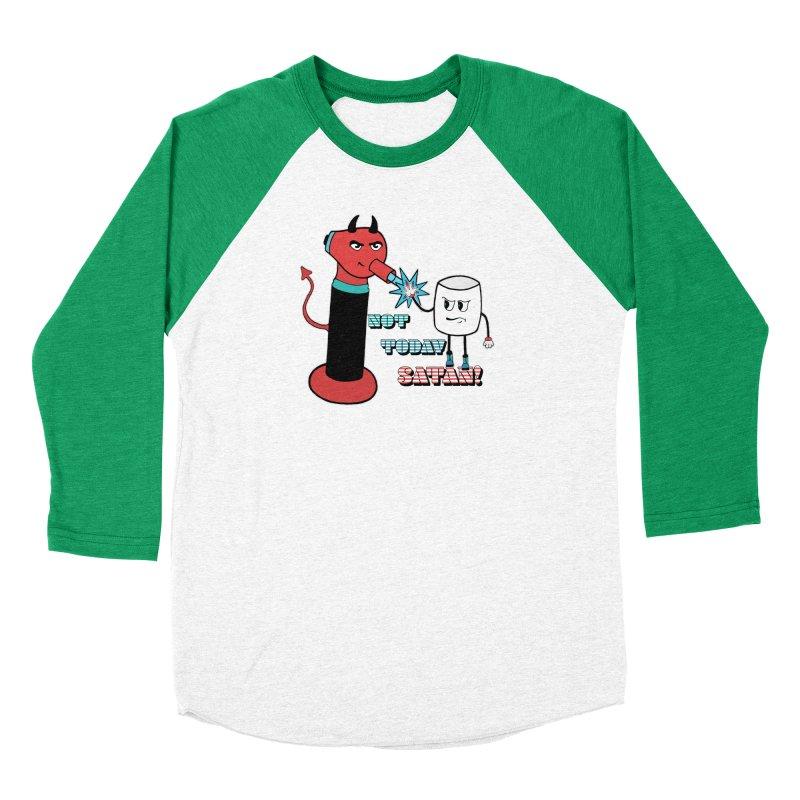 Not Today Satan! Men's Baseball Triblend Longsleeve T-Shirt by Andrea Snider's Artist Shop