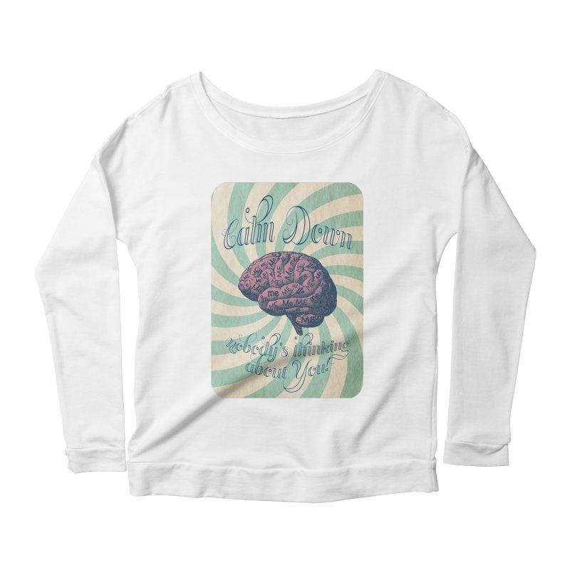Calm Down. Women's Scoop Neck Longsleeve T-Shirt by Andrea Snider's Artist Shop