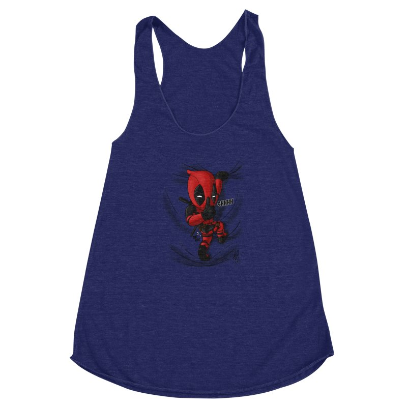 shush Mr. Pool is coming Women's Racerback Triblend Tank by Andrew's Fantastic World Shop