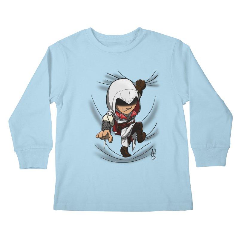Assassin's Climb Kids Longsleeve T-Shirt by Andrew's Fantastic World Shop