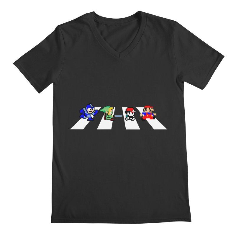 8bit road Men's V-Neck by Andrew's Fantastic World Shop