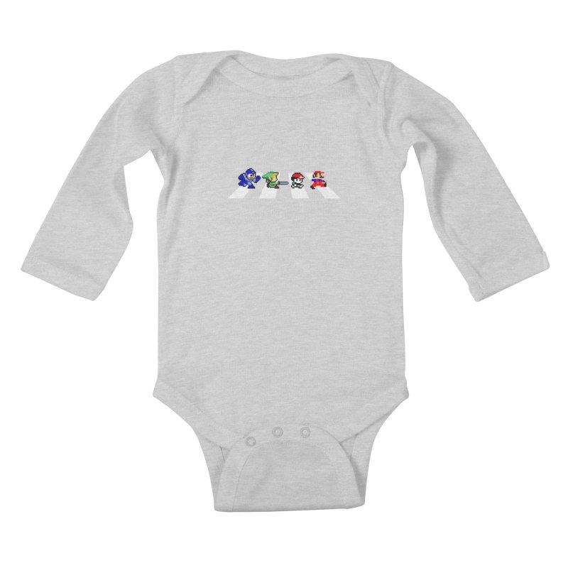 8bit road Kids Baby Longsleeve Bodysuit by Andrew's Fantastic World Shop