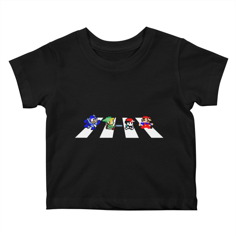 8bit road Kids Baby T-Shirt by Andrew's Fantastic World Shop