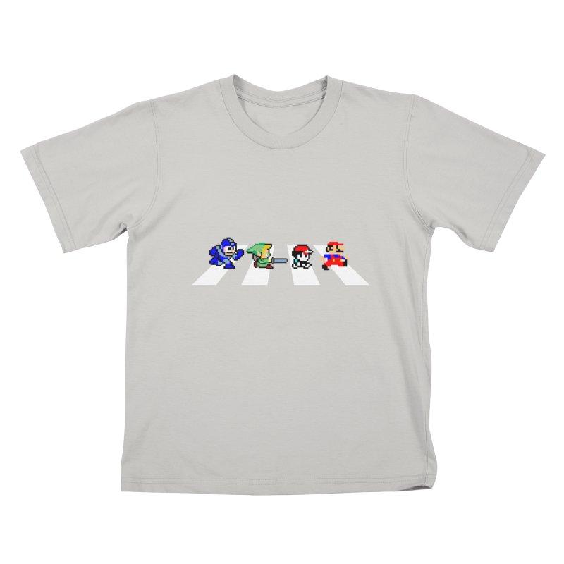 8bit road Kids T-shirt by Andrew's Fantastic World Shop