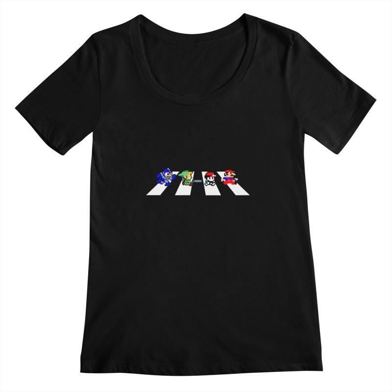 8bit road Women's Scoopneck by Andrew's Fantastic World Shop