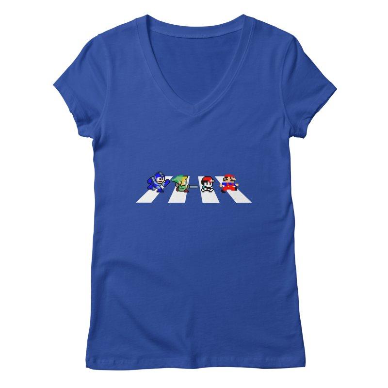 8bit road Women's V-Neck by Andrew's Fantastic World Shop