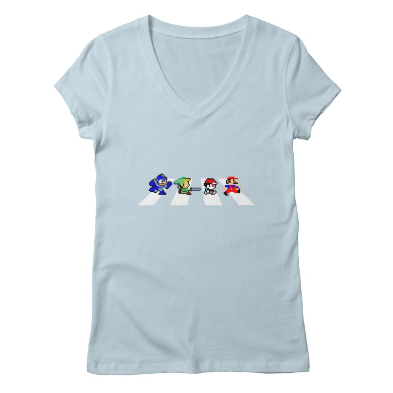 8bit road Women's V-Neck by Andrew's Fantastic World Shop