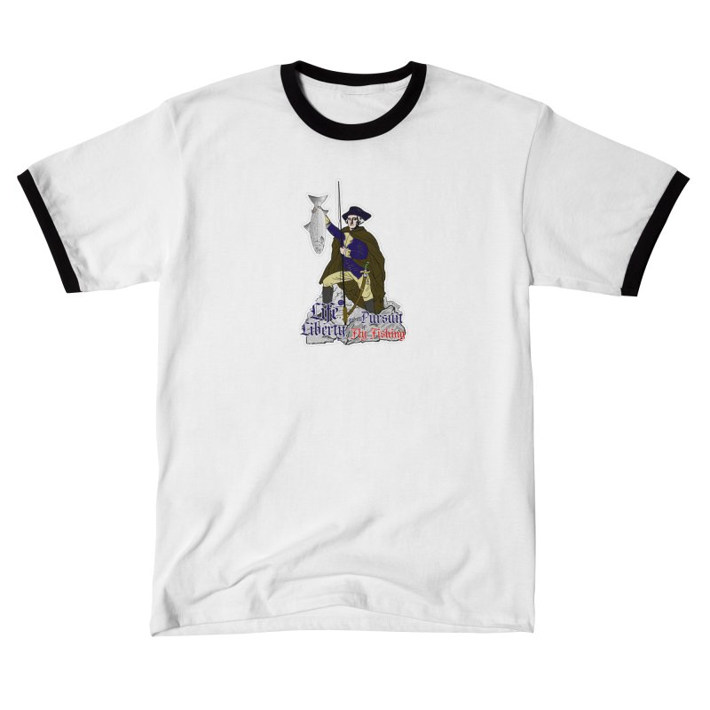 George Washington Life Liberty and the Pursuit of Fly Fishing Men's T-Shirt by Andrew Cotten's Artist Shop