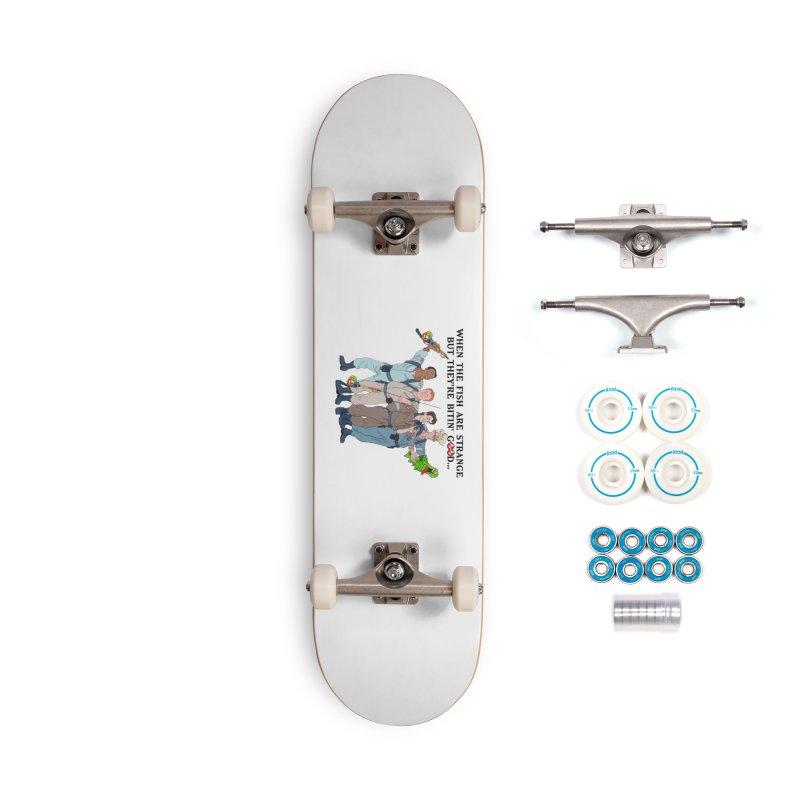 Something Strange Fishing Accessories Skateboard by Andrew Cotten's Artist Shop