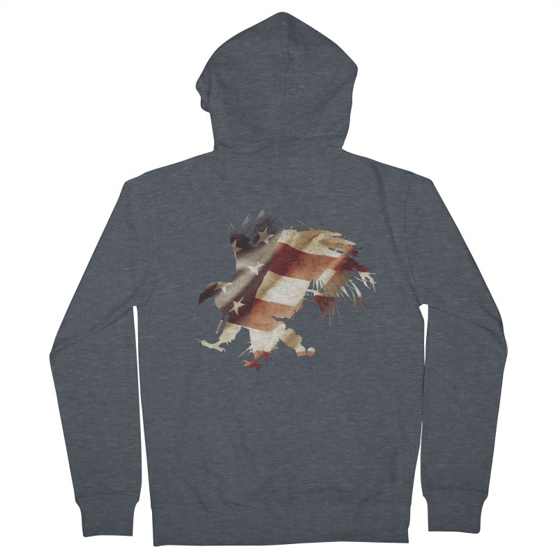 Bald Eagle Men's French Terry Zip-Up Hoody by andrewkaiser's Artist Shop