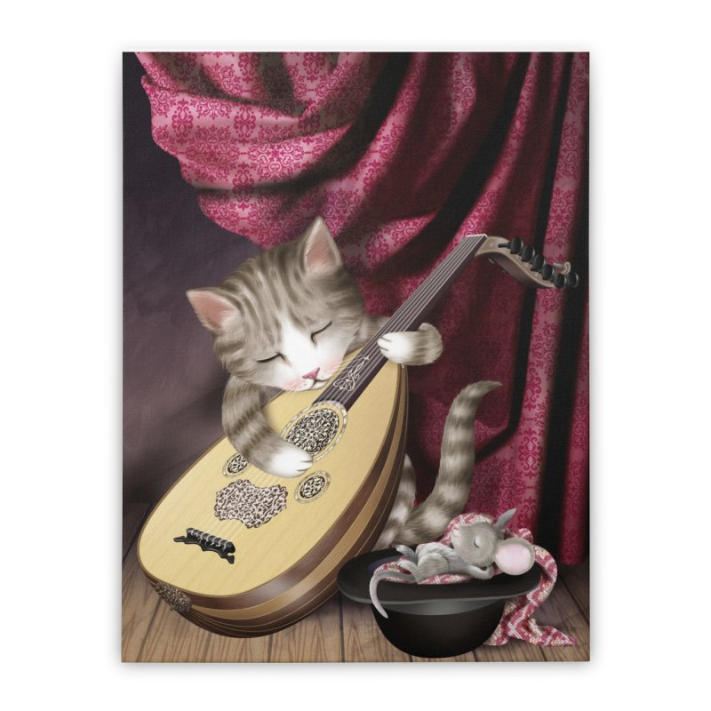 Cat and Mouse Home Stretched Canvas by andrula's Artist Shop