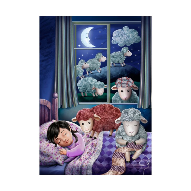 Counting sheeps (girl version) None  by andrula's Artist Shop