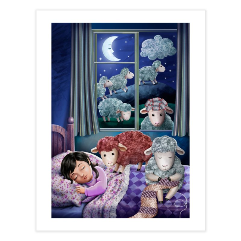 Counting sheeps (girl version) Home Fine Art Print by andrula's Artist Shop