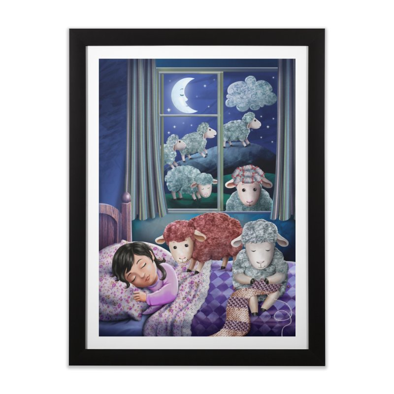 Counting sheeps (girl version) Home Framed Fine Art Print by andrula's Artist Shop
